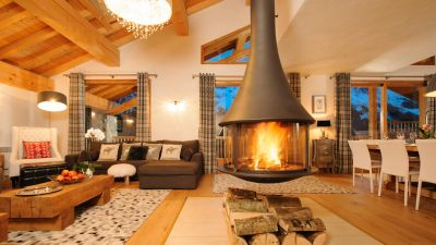 Log Fire in La Marquise Chalet in Ste Foy
