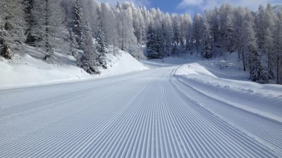 Fresh groomed piste in Sainte Foy